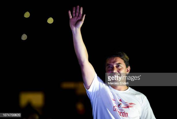 Marcelo Gallardo coach of River Plate waves to the fans during the celebrations at Antonio Vespucio Liberti Stadium after winning the Copa CONMEBOL...