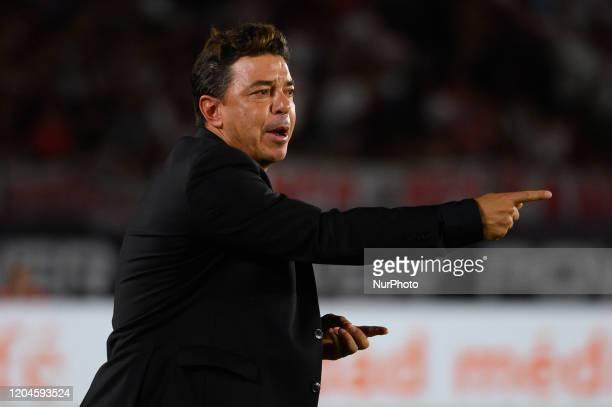 Marcelo Gallardo gives directions to its players Match between River Plate and Defensa y Justicia as part of Superliga 2019/20 at Antonio Vespucio...