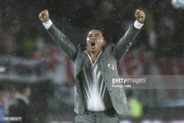 Marcelo Gallardo head coach of River Plate celebrates after winning a match between River Plate and Banfield as part of Superliga 2019/20 at Antonio...