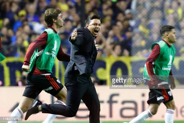 Marcelo Gallardo head coach of River Plate celebrates qualifying the the final after the Semifinal second leg match between Boca Juniors and River...