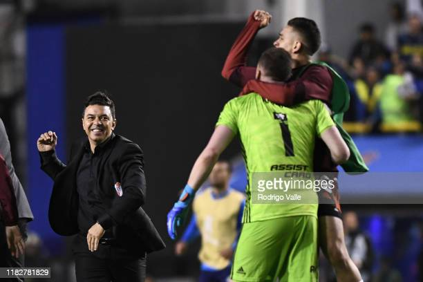 Marcelo Gallardo head coach of River Plate celebrates qualifying to the final after the Semifinal second leg match between Boca Juniors and River...