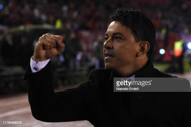 Marcelo Gallardo head coach of River Plate celebrates the victory after the semi final first leg match between River Plate and Boca Juniors as part...