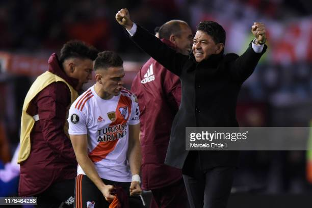 Marcelo Gallardo head coach of River Plate celebrates with Rafael Santos Borre of River Plate the second goal of their team scored by Ignacio...