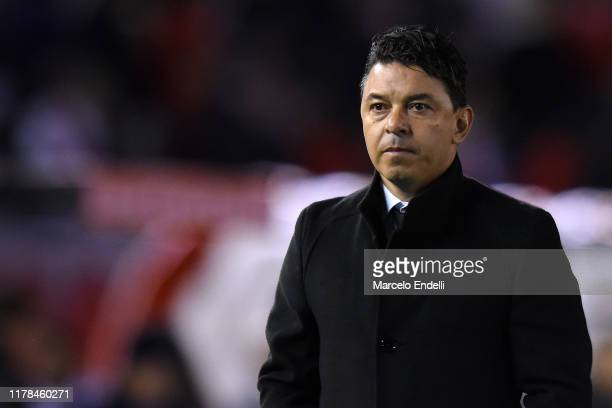 Marcelo Gallardo head coach of River Plate looks on during the semi final first leg match between River Plate and Boca Juniors as part of Copa...