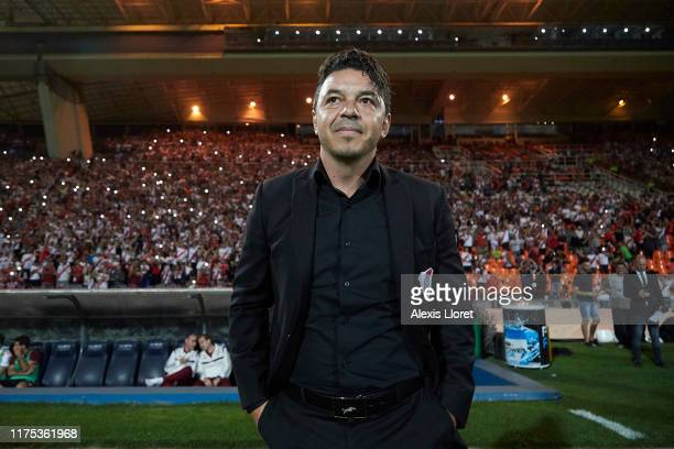 Marcelo Gallardo head coach of River Plate smiles during a match between River Plate and Almagro part of Quarter Finals of Copa Argentina 2019 at...