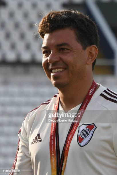 Marcelo Gallardo head coach of River Plate smiles during a training session at Alianza Lima Stadium on November 21 2019 in Lima Peru River Plate and...