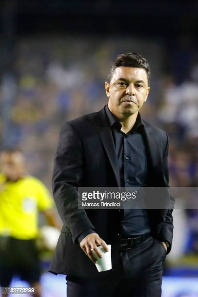 Marcelo Gallardo head coach of River Plate walks off the filed at half time during the Semifinal second leg match between Boca Juniors and River...