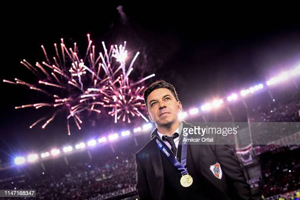 Marcelo Gallardo head coach of River Plate wearing his medal looks on after winning the CONMEBOL Recopa Sudamericana 2019 against Athletico...