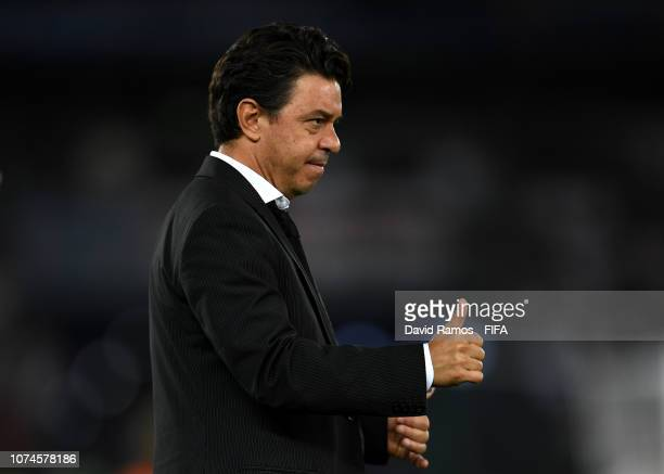 Marcelo Gallardo Manager of River Plate gives his team instructions during the FIFA Club World Cup UAE 2018 3rd Place match between River Plate and...