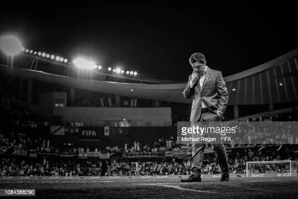 Marcelo Gallardo Manager of River Plate looks on during the FIFA Club World Cup UAE 2018 Semi Final Match between River Plate and Al Ain at Hazza Bin...