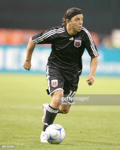 Marcelo Gallardo of DC United on the attack during an MLS game against Columbus Crew at RFK stadium in Washington DC
