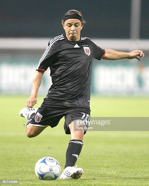 Marcelo Gallardo of DC United winds up for a shot during an MLS game against the Columbus Crew at RFK stadium in Washington DC