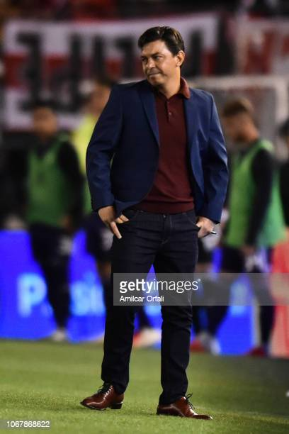 Marcelo Gallardo of River Plate during a match between River Plate and Gimnasia y Esgrima La Plata as part of Superliga 2018/19 at Estadio Monumental...