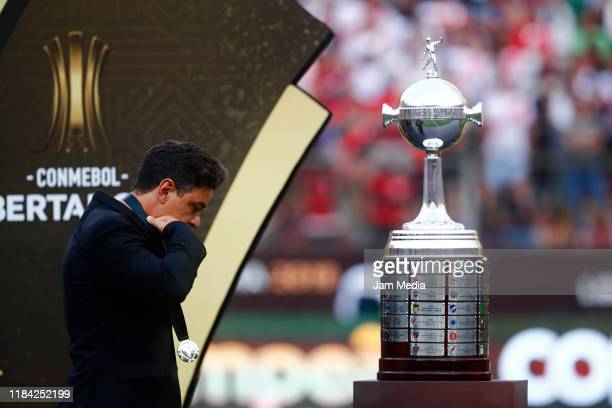 Marcelo Gallardo reacts after receive the medal after lossing the final match of Copa CONMEBOL Libertadores 2019 between Flamengo and River Plate at...