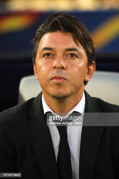 Marcelo Gallardo the head coach / manager of River Plate looks on during the FIFA Club World Cup UAE third place match between Kashima Antlers and...