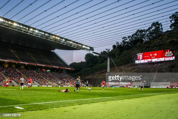 Marcelo Goiano of SC Braga competes for the ball with Jacob Murphy of Newcastle during the Preseason friendly between SC Braga and Newcastle on...
