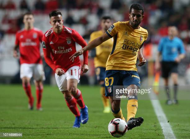 Marcelo Goiano of SC Braga with Franco Cervi of SL Benfica in action during the Liga NOS match between SL Benfica and SC Braga at Estadio da Luz on...