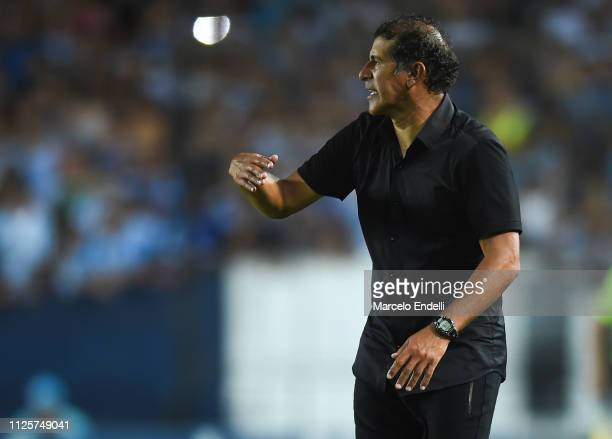 Marcelo Gomez coach of Godoy Cruz gestures during a match between Racing Club and Godoy Cruz at Juan Domingo Peron Stadium on February 18 2019 in...