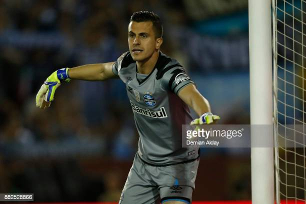 Marcelo Grohe goalkeeper of Gremio gestures during the second leg match between Lanus and Gremio as part of Copa Bridgestone Libertadores 2017 Final...