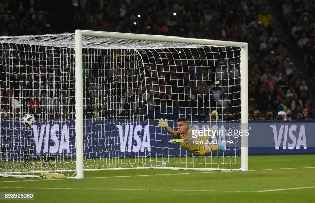 Marcelo Grohe of Gremio fails to save goal by Cristiano Ronaldo during the FIFA Club World Cup UAE 2017 final match between Gremio and Real Madrid at...