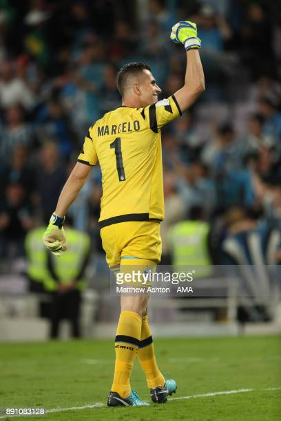 Marcelo Grohe of Gremio FBPA celebrates at the end of the FIFA Club World Cup UAE 2017 semifinal match between Gremio FBPA and CF Pachuca at Hazza...