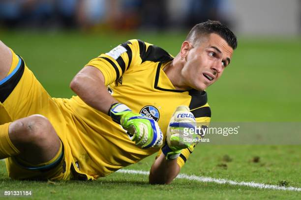 Marcelo Grohe of Gremio in action during the FIFA Club World Cup UAE 2017 semifinal match between Gremio FBPA and CF Pachuca on December 12 2017 in...