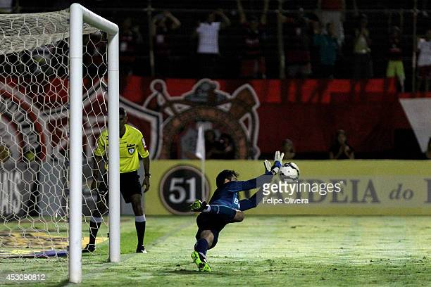 Marcelo Grohe of Gremio in action during the match between Vitoria and Gremio as part of Brasileirao Series A 2014 at Estadio Manoel Barradas on...