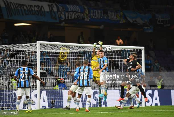 Marcelo Grohe of Gremio punches the ball away during the FIFA Club World Cup UAE 2017 semifinal match between Gremio FBPA and CF Pachuca on December...