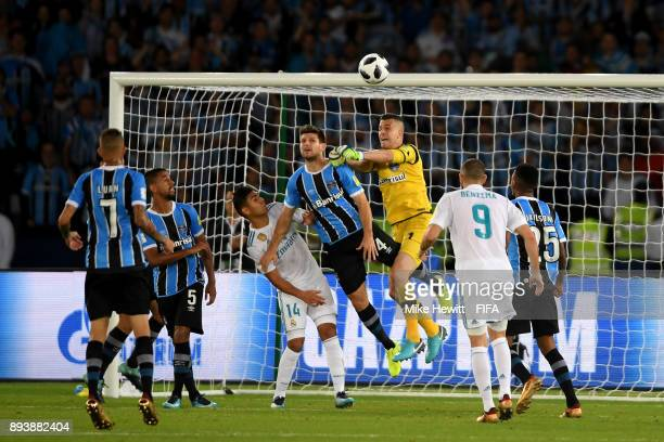 Marcelo Grohe of Gremio punches the ball clear during the FIFA Club World Cup UAE 2017 Final between Gremio and Real Madrid at the Zayed Sports City...
