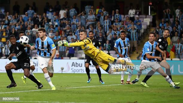 Marcelo Grohe of Gremio saves during the FIFA Club World Cup UAE 2017 semifinal match between Gremio FBPA and CF Pachuca on December 12 2017 at the...