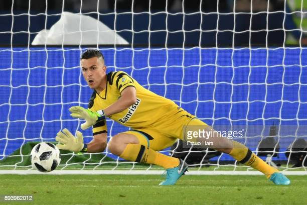 Marcelo Grohe of Gremio saves the ball during the FIFA Club World Cup UAE 2017 Final between Gremio and Real Madrid at the Zayed Sports City Stadium...