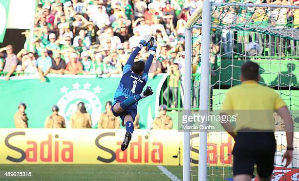 Marcelo Grohe player of Gremio during the match between Chapecoense and Gremio as part of Brasileirao Series A 2014 at Arena Conda on May 11 2014 in...