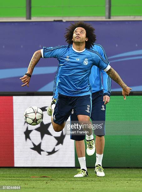 Marcelo in action during a Real Madrid training session ahead of their UEFA Champions League quarter final first leg match against Wolfsburg at...