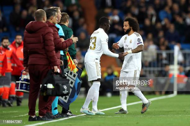 Marcelo is substituted by Ferland Mendy of Real Madrid during the UEFA Champions League group A match between Real Madrid and Galatasaray at Bernabeu...