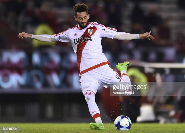 Marcelo Larrondo of River Plate kicks the ball during a match between River Plate and Aldosivi as part of Torneo Primera Division 2016/17 at...