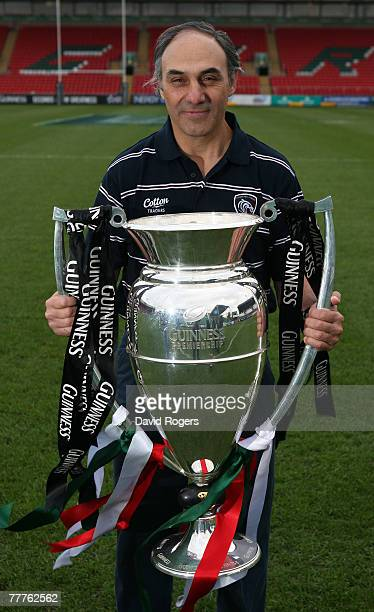 Marcelo Loffreda head coach of Leicester Tigers holds the Guinness Premiership Trophy after the media conference at the club's Welford Road ground on...