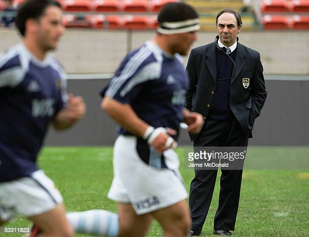 Marcelo Loffreda the Argentine Coach looks on as his players warm up prior to the Churchill Cup Final between England and Argentina at the...