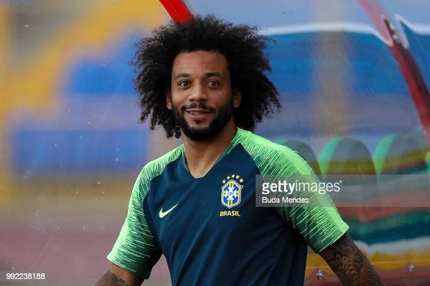 Marcelo looks on during a Brazil training session ahead of the the 2018 FIFA World Cup Russia Quarter Final match between Brazil and Belgium at...