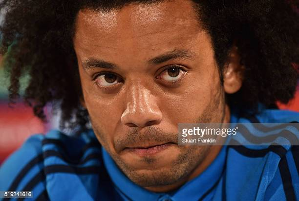 Marcelo looks on during a Real Madrid press conference ahead of their UEFA Champions League quarter final first leg match against Wolfsburg at...