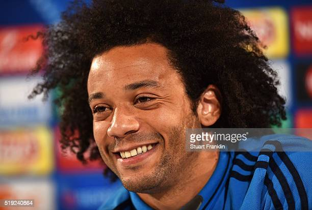Marcelo looks smiles during a Real Madrid press conference ahead of their UEFA Champions League quarter final first leg match against Wolfsburg at...