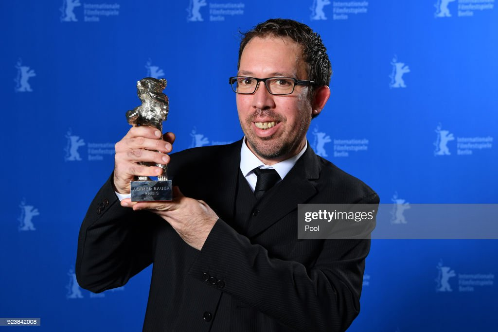 Marcelo Martinessi, winner of the Silver Bear Alfred Bauer Prize for a feature film that opens new perspectives for 'The Heiresses'' poses at the Award Winners photo call during the 68th Berlinale International Film Festival Berlin at Berlinale Palast on February 24, 2018 in Berlin, Germany.