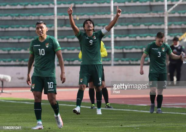 Marcelo Martins of Bolivia celebrates the first goal of his team during a match between Bolivia and Argentina as part of South American Qualifiers...