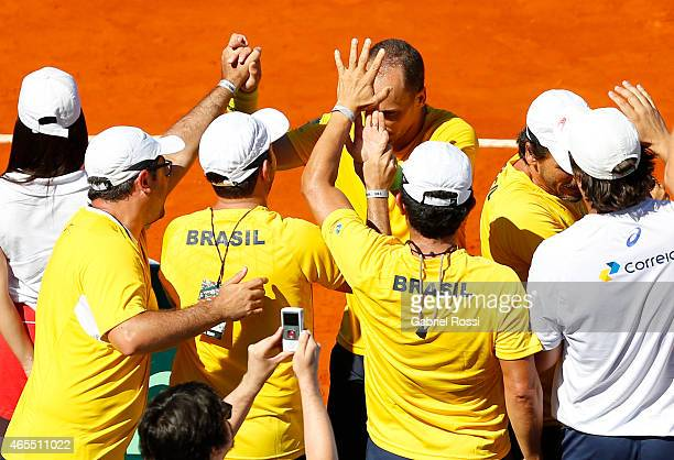 Marcelo Melo and Bruno Soares celebrate after wining the doubles match between Carlos Berlocq / Diego Schwartzman v Marcelo Melo / Bruno Soares as...