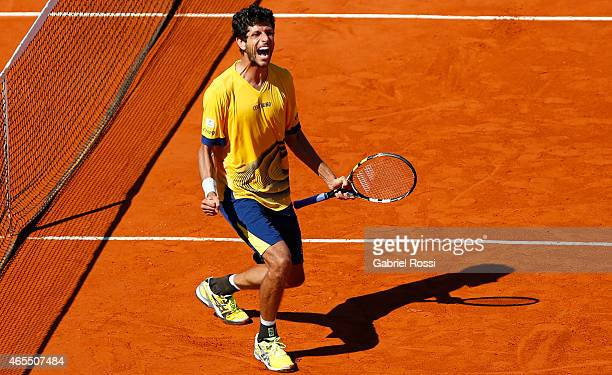 Marcelo Melo celebrates after wining the doubles match between Carlos Berlocq / Diego Schwartzman v Marcelo Melo / Bruno Soares as part of Davis Cup...