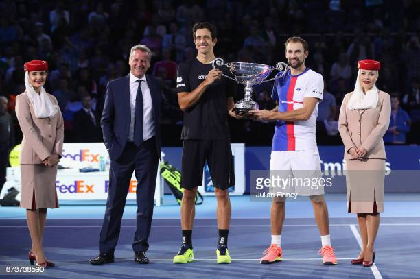 Marcelo Melo of Brazil and Lukasz Kubot of Poland pose with the ATP World Tour No1 Doubles Team trophy presented by Emirates and Chris Kermode...