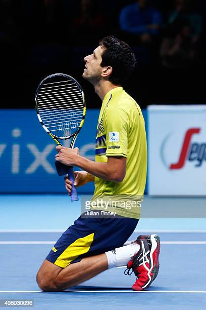 Marcelo Melo of Brazil celebrates matchpoint during the men's doubles match against Marcin Matlowski of Poland and Nenad Zimonjic of Serbia on day...