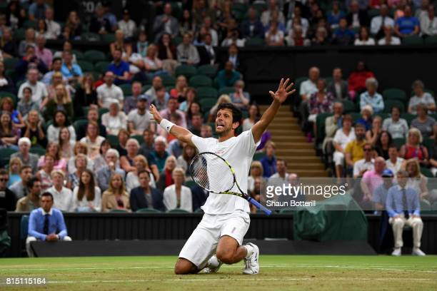 Marcelo Melo of Brazil celebrates victory during the Gentlemen's Doubles final against Oliver Marach of Austria and Mate Pavic of Croatia on day...