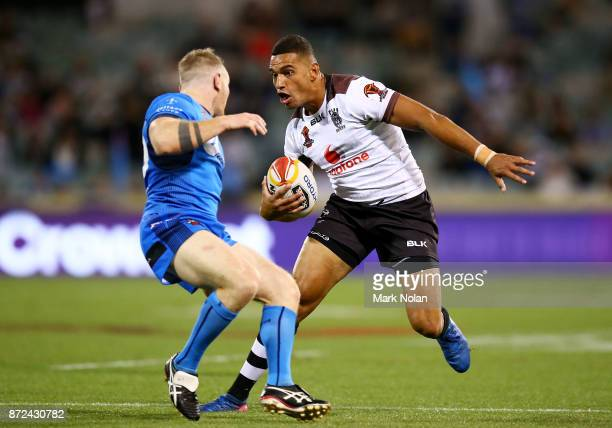 Marcelo Montoya of Fiji in action during the 2017 Rugby League World Cup match between Fiji and Italy at Canberra Stadium on November 10 2017 in...