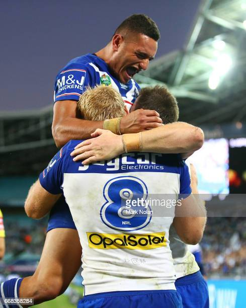Marcelo Montoya of the Bulldogs celebrates a try by Josh Morris during the round seven NRL match between the Canterbury Bulldogs and the South Sydney...