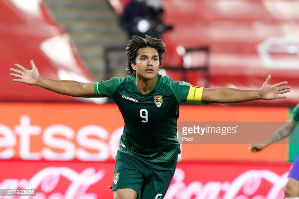 Marcelo Moreno Martins of Bolivia celebrates after scoring the first goal of his team during a match between Chile and Bolivia as part of South...